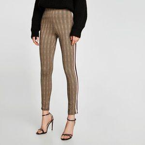 Zara check legging w side stripe, size medium